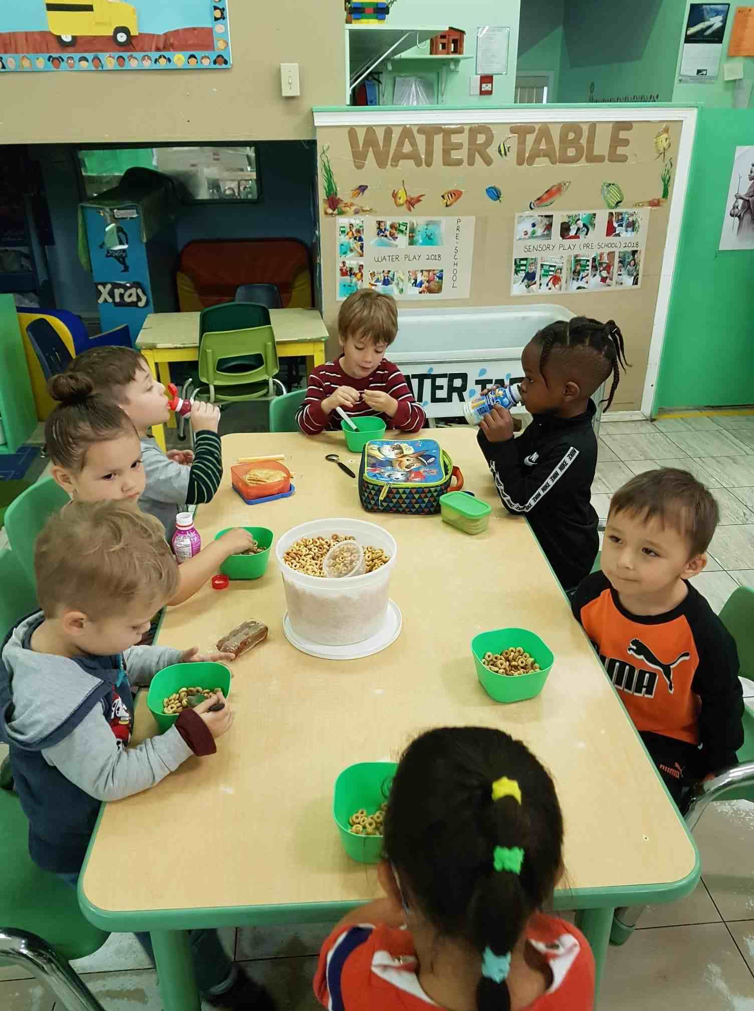 children eating at day care